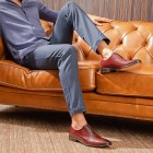Sapato Social Wholecut Oxford Madrid Burgundy