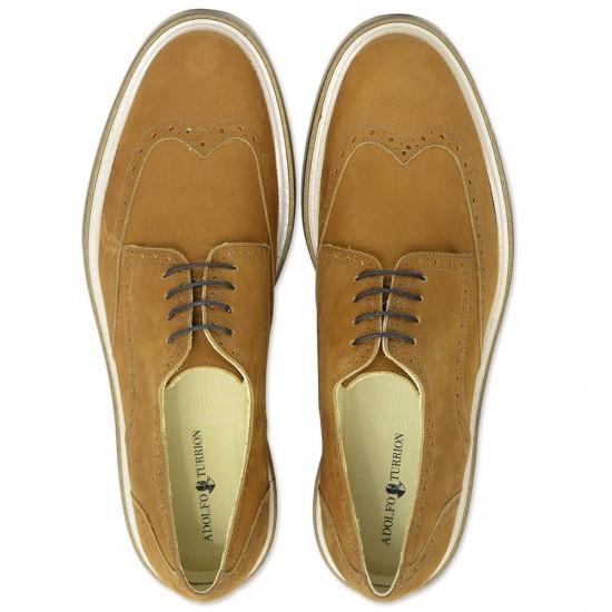 Sapato Masculino Derby Iruela Nobuck Caramelo