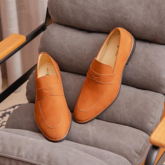 Sapato Masculino Loafer Burgos Nobuck Caramelo