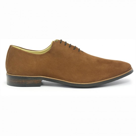 Sapato Masculino Wholecut Oxford Andaluz Nobuck Caramelo