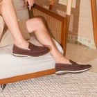Sapato Masculino Loafer Turre Camurça Café